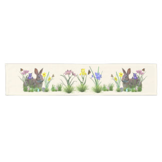 Easter Bunny, Eggs, and Spring Flowers Short Table Runner