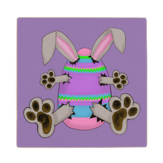 Easter Bunny Escapes from Colorful Easter Egg Maple Wood Coaster