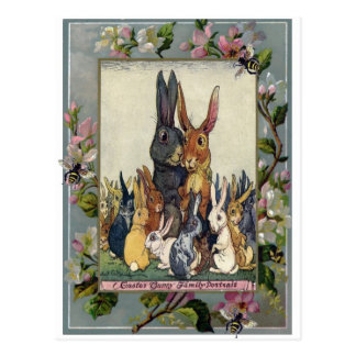 Easter Bunny Family Portrait Postcard