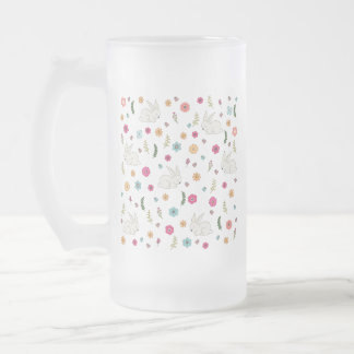 Easter bunny frosted glass beer mug