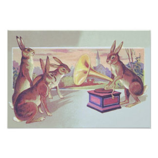 Easter Bunny Gramophone Phonograph Photo Print