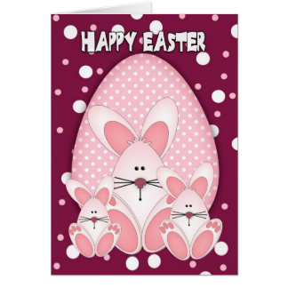 Easter Bunny Greeting Card With Three Rabbits