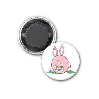 Easter Bunny Hiding Eggs 1 Inch Round Magnet