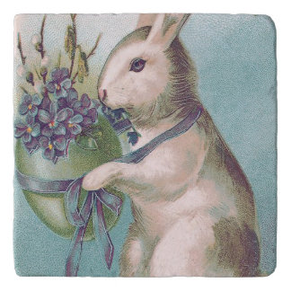 Easter Bunny Holding Colored Egg Trivet