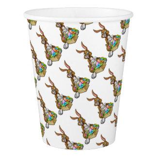 Easter Bunny Holding Egg Hunt Basket Paper Cup