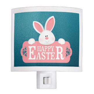EASTER BUNNY HOLDING SIGN NIGHT LIGHT