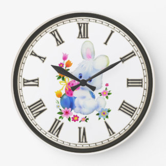 Easter Bunny Holiday home decor Large Clock