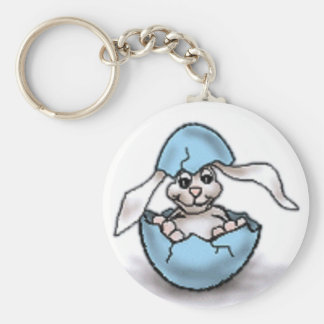 Easter Bunny in a Blue Egg Keychains