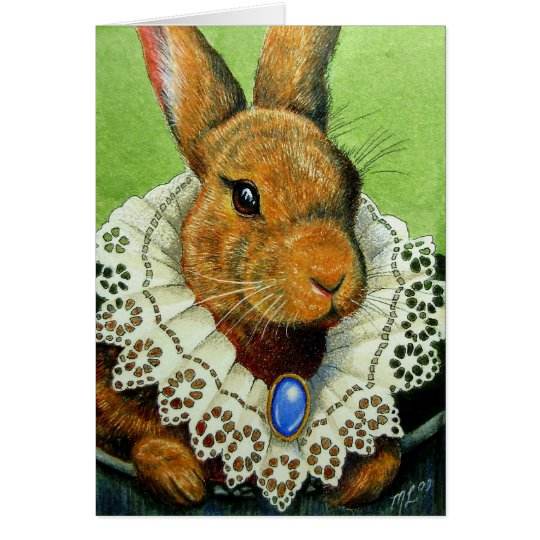 Easter Bunny In A Victorian Lace Collar Card
