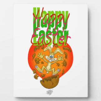 Easter bunny jumping out of chocolate egg. photo plaque