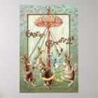 Easter Bunny Maypole Dance Ribbon Poster
