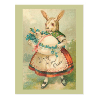 Easter Bunny Mother And Baby Vintage Postcard