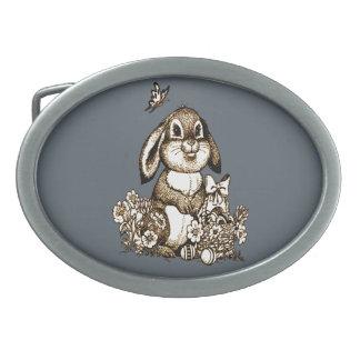 Easter Bunny Oval Belt Buckle