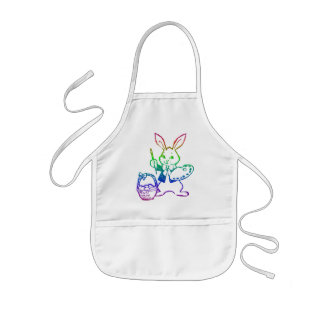 Easter Bunny painting an egg Kids Apron