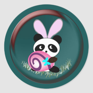 Easter bunny Panda Classic Round Sticker