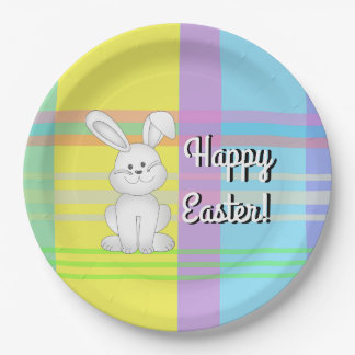Easter Bunny Plaid Paper Plates 9 Inch Paper Plate