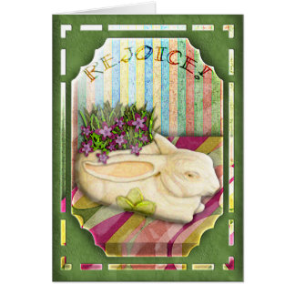 Easter Bunny Planter in Green Florist Shop Window Card