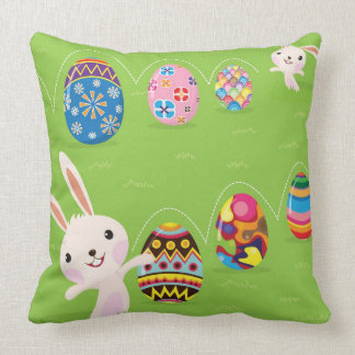 Easter bunny playful with painted eggs throw pillow
