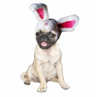 easter bunny pug photo sculpture magnet