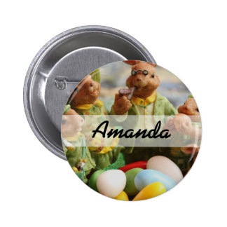 Easter Bunny Rabbit family and eggs 2 Inch Round Button