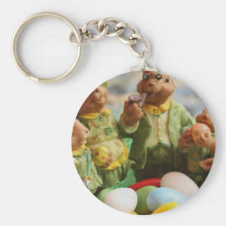 Easter Bunny Rabbit family and eggs Basic Round Button Keychain