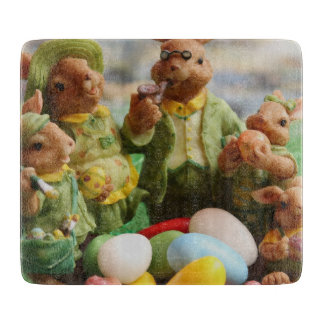 Easter Bunny Rabbit family and eggs Cutting Board