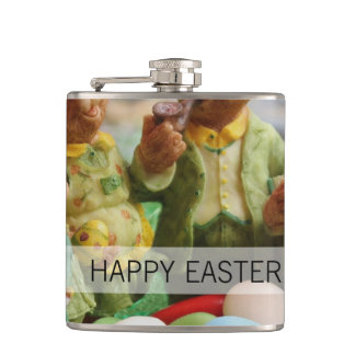 Easter Bunny Rabbit family and eggs Flask
