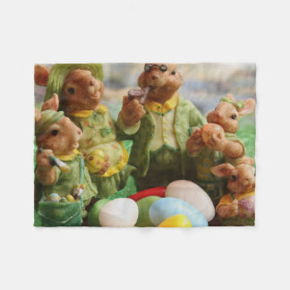 Easter Bunny Rabbit family and eggs Fleece Blanket