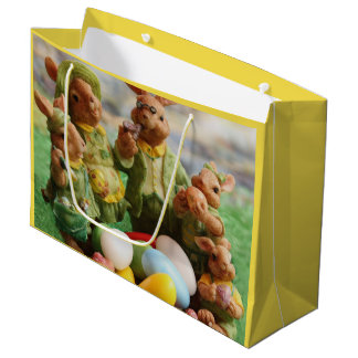 Easter Bunny Rabbit family and eggs Large Gift Bag