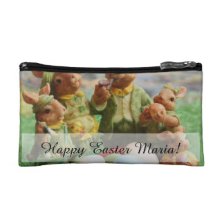 Easter Bunny Rabbit family and eggs Makeup Bag