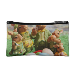 Easter Bunny Rabbit family and eggs Makeup Bags