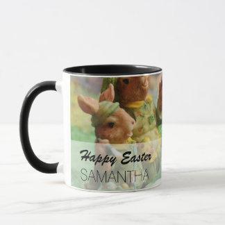 Easter Bunny Rabbit family and eggs Mug
