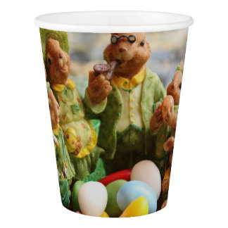 Easter Bunny Rabbit family and eggs Paper Cup