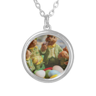 Easter Bunny Rabbit family and eggs Silver Plated Necklace