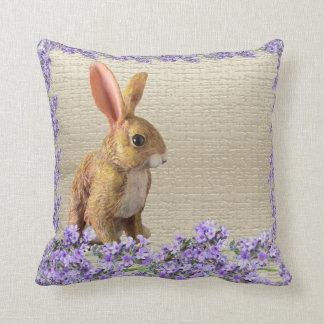 easter bunny rabbit spring lavender cushion pillow