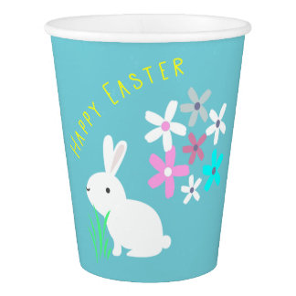 Easter Bunny Rabbit with Flowers Party Paper Cups