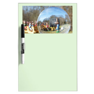 Easter Bunny school seen through the glass ball 2 Dry Erase Board