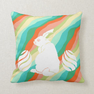 Easter Bunny Spring Abstract Pattern Throw Pillow