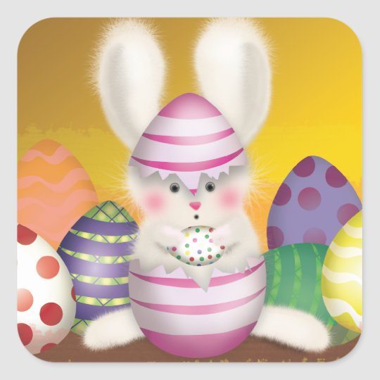 Easter Bunny stings Square Sticker