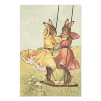 Easter Bunny Swinging On Swing Field Flower Photo Print