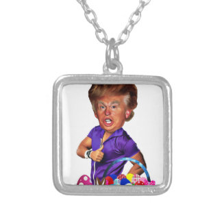 easter bunny trump silver plated necklace