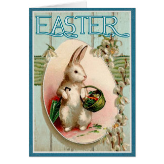 Easter Bunny Vintage Illustration Happy Easter Card