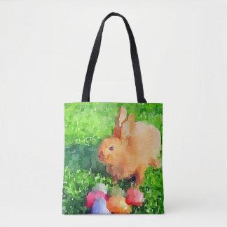 Easter Bunny Watercolor Tote Bag