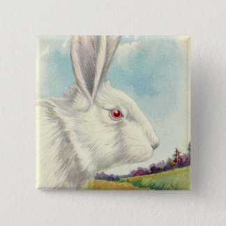 Easter Bunny White Albino Field 2 Inch Square Button