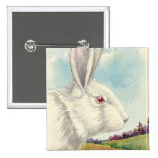 Easter Bunny White Albino Field 2 Inch Square Button