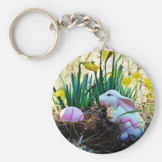 Easter Bunny with a pink egg Key Chains