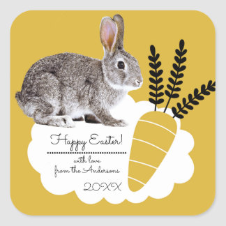Easter Bunny with Carrot Easter Gift Stickers