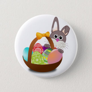 easter bunny with eggs 2 inch round button