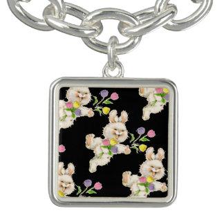 Easter Bunny with flowers cartoon Charm Bracelet