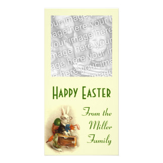 Easter Bunny with Glasses Personalized Photo Card